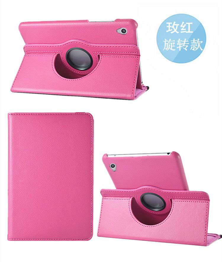 honor pad 2 solid color case with rotating stand and shell rose red: