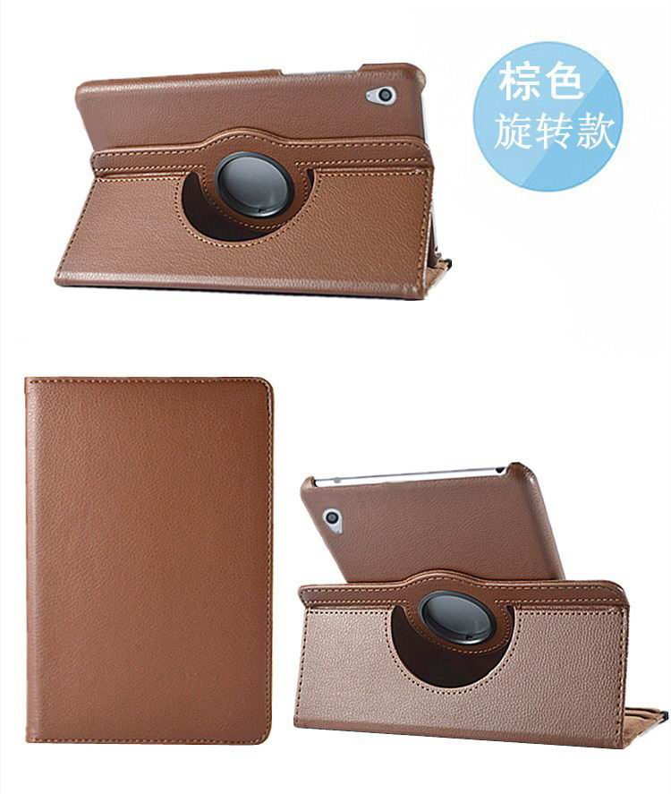 honor pad 2 solid color case with rotating stand and shell brown: