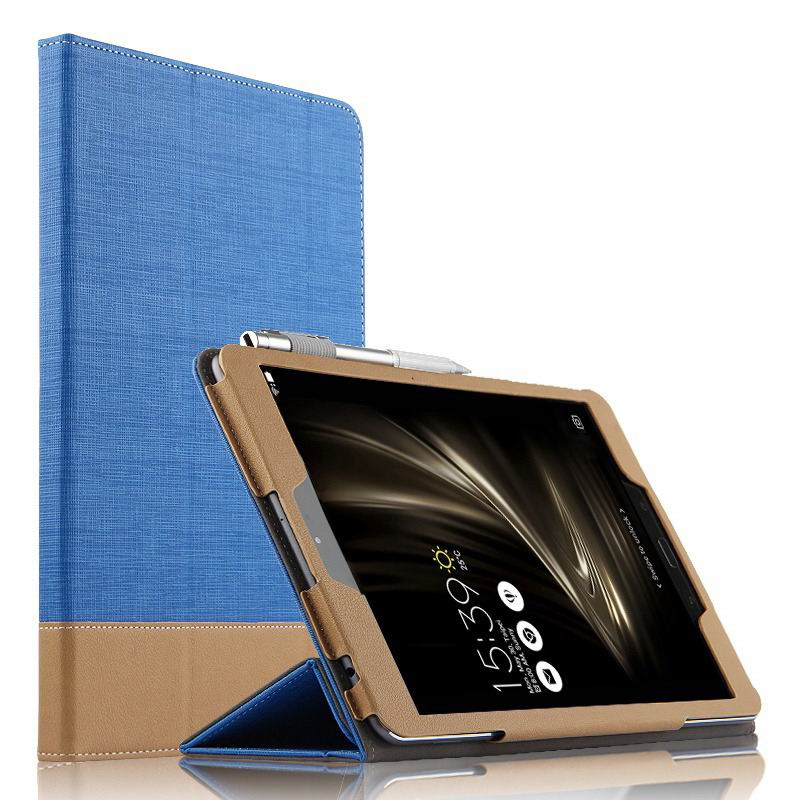 zenpad 3s 10 z500m business case with cloth style 3 stand and pen holder Blue: