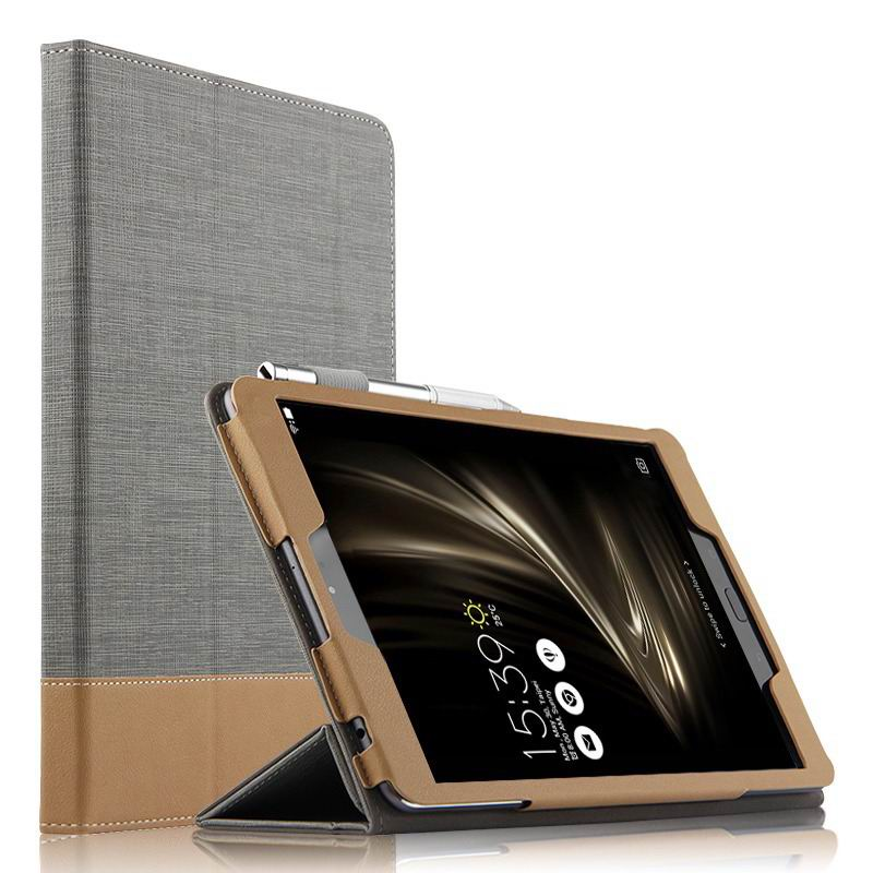 zenpad 3s 10 z500m business case with cloth style 3 stand and pen holder Gray: