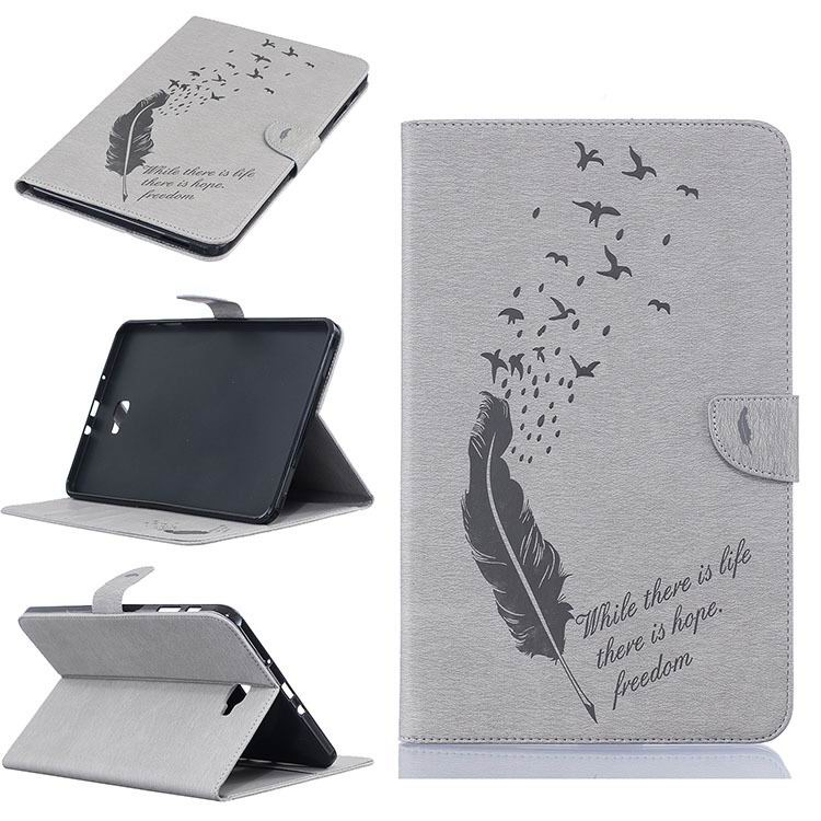 galaxy tab a 10 1 2016 business case with feather and birds pattern 2 stand and card holders and silicone cover Gray: