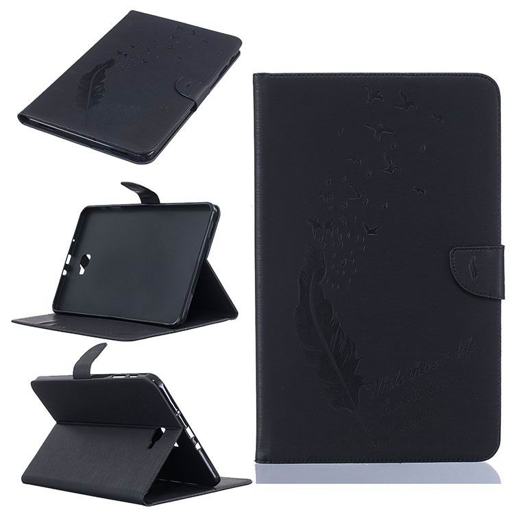 galaxy tab a 10 1 2016 business case with feather and birds pattern 2 stand and card holders and silicone cover Black: