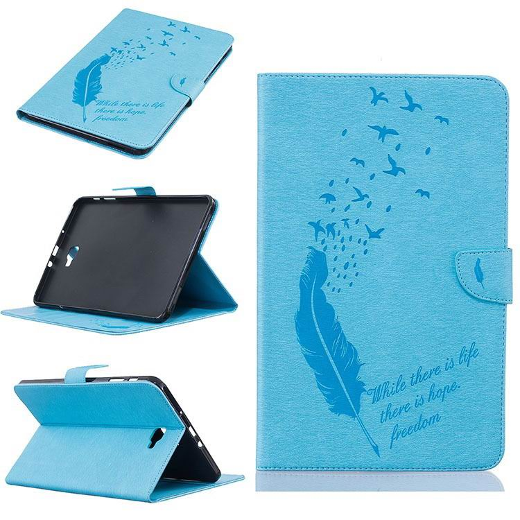 galaxy tab a 10 1 2016 business case with feather and birds pattern 2 stand and card holders and silicone cover Sky blue: