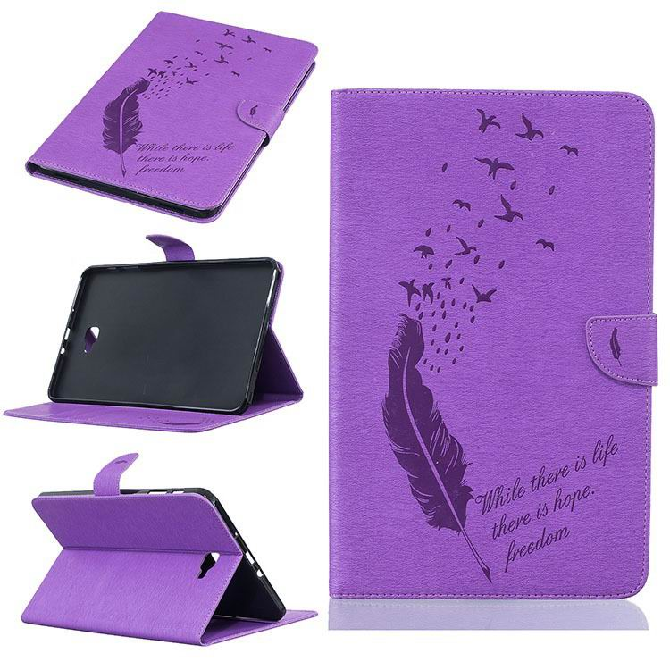 business case with feather and birds pattern 2 stand and card holders and silicone cover 00