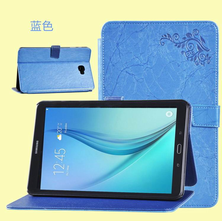 galaxy tab a 10 1 2016 business case with leather style multicolor pattern and 2 stand blue:
