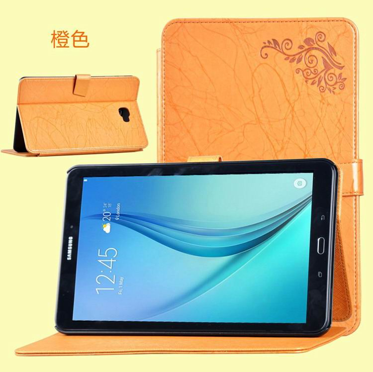 galaxy tab a 10 1 2016 business case with leather style multicolor pattern and 2 stand orange: