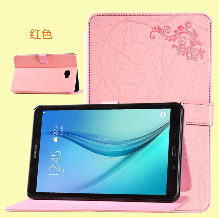 galaxy tab a 10 1 2016 business case with leather style multicolor pattern and 2 stand red:
