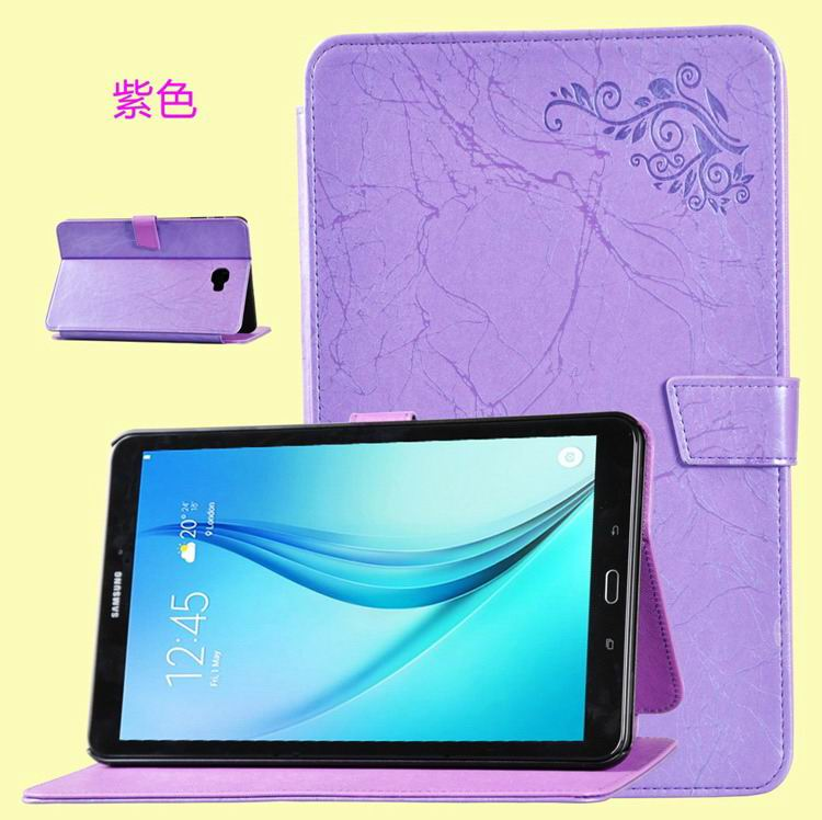 galaxy tab a 10 1 2016 business case with leather style multicolor pattern and 2 stand purple: