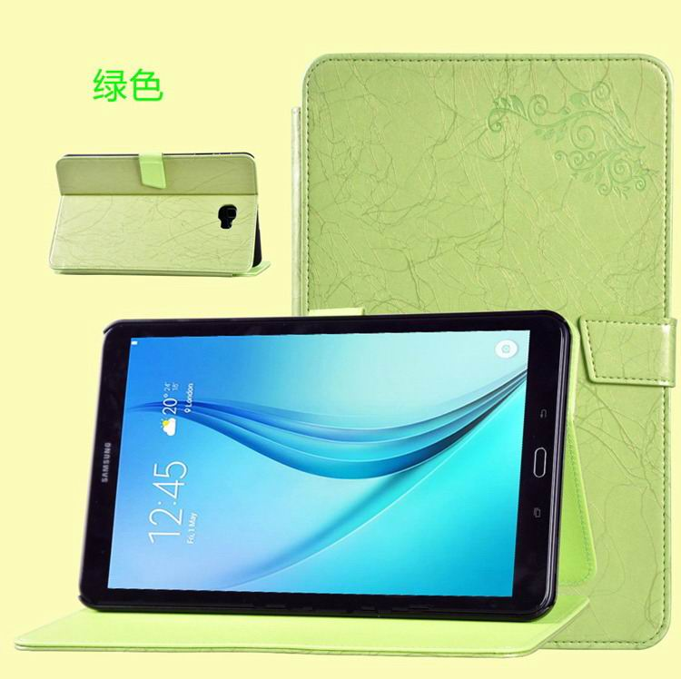 galaxy tab a 10 1 2016 business case with leather style multicolor pattern and 2 stand green:
