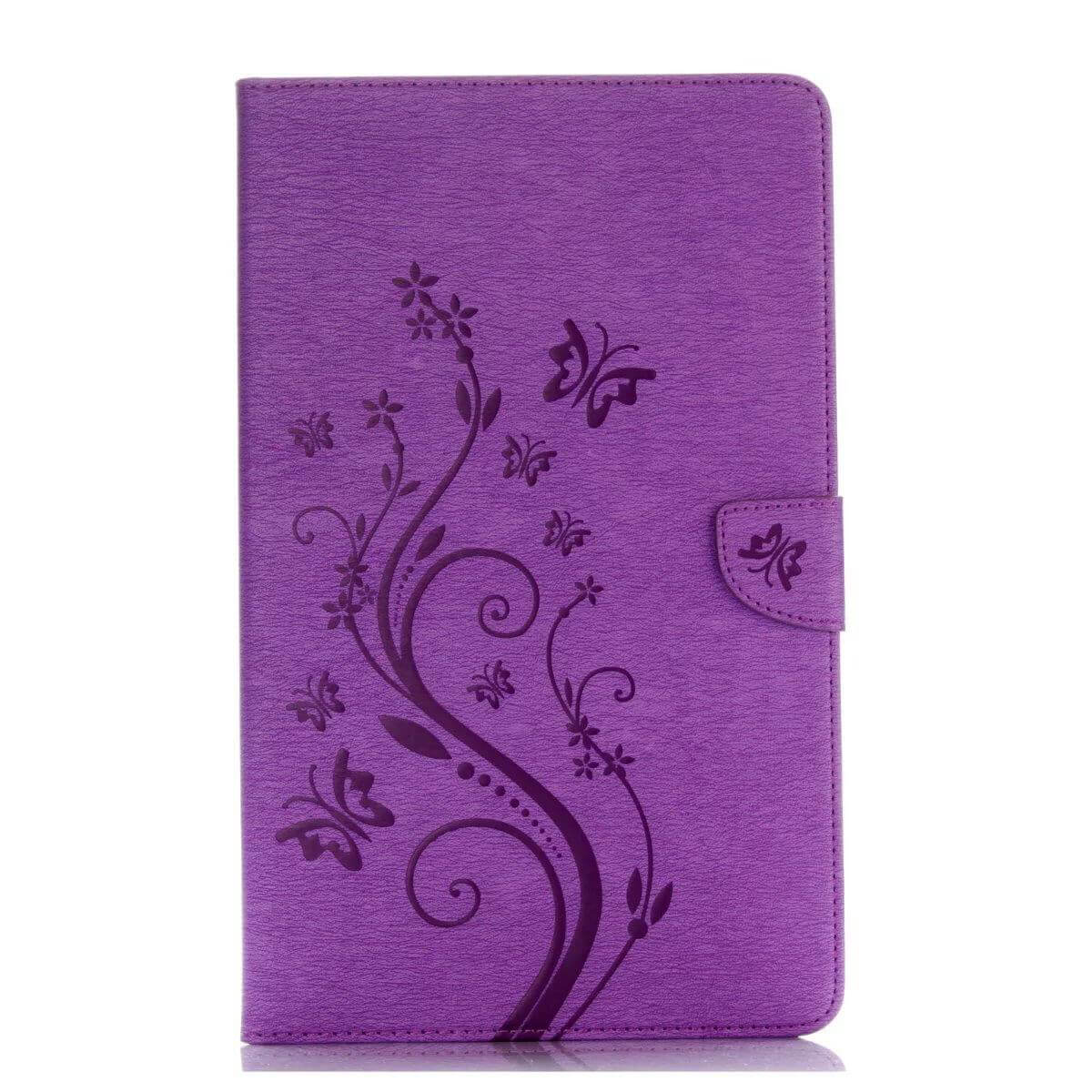 galaxy tab a 10 1 s pen 2016 business multicolor case with monochrome flowers 2 stand and credit card pockets Purple:
