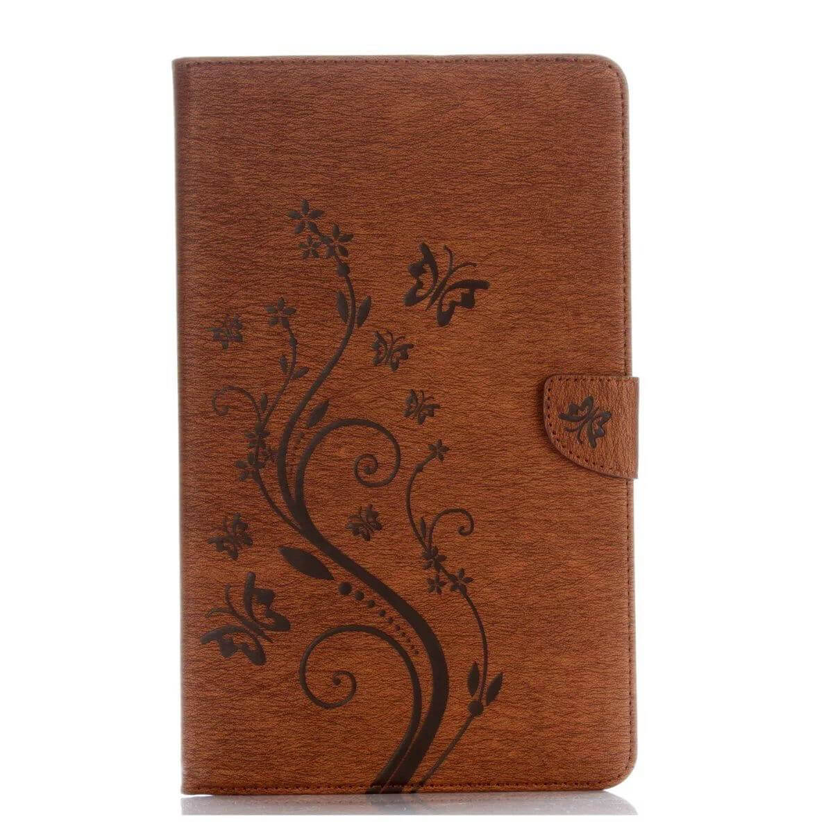 galaxy tab a 10 1 s pen 2016 business multicolor case with monochrome flowers 2 stand and credit card pockets Brown: