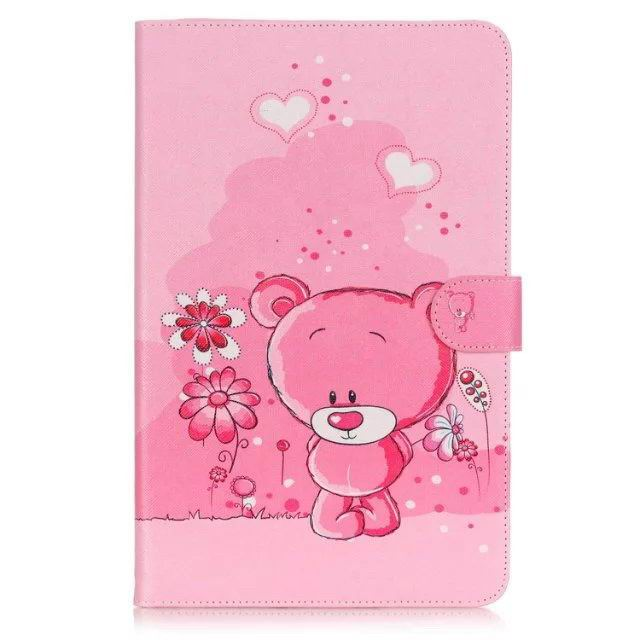 galaxy tab a 10 1 2016 case with anime heroes 2 stand and card holders Pink little bear: