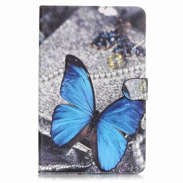 galaxy tab a 10 1 2016 case with anime heroes 2 stand and card holders Blue butterfly: