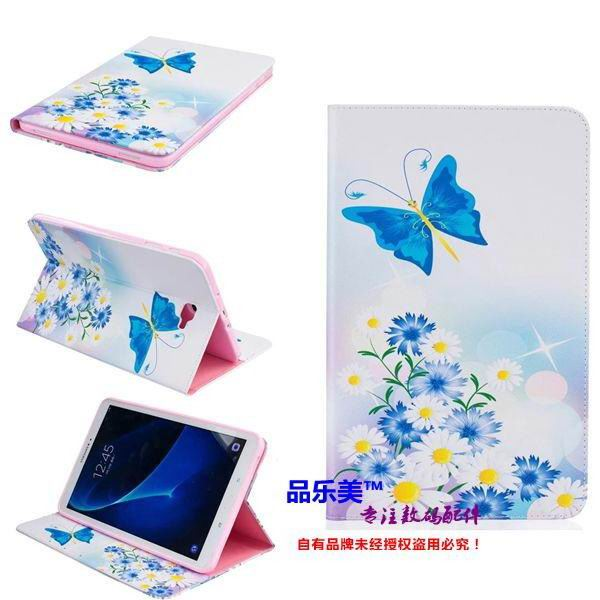 galaxy tab a 10 1 2016 case with light pattern and black and white skin with 2 stand and card holders BF---7: