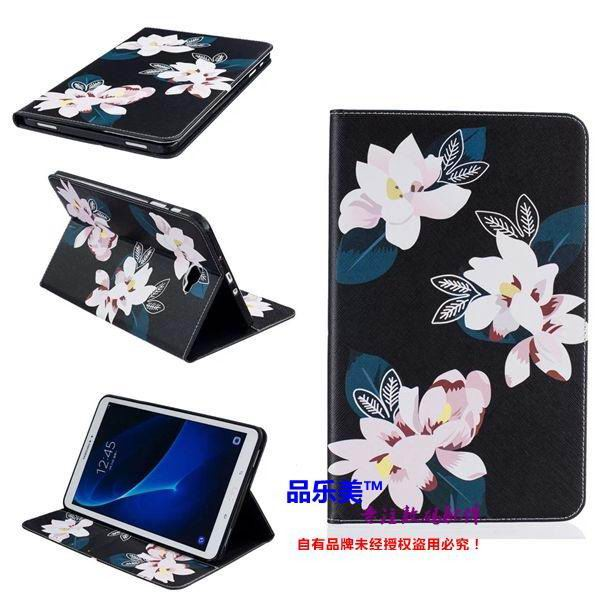 galaxy tab a 10 1 2016 case with light pattern and black and white skin with 2 stand and card holders BF---3: