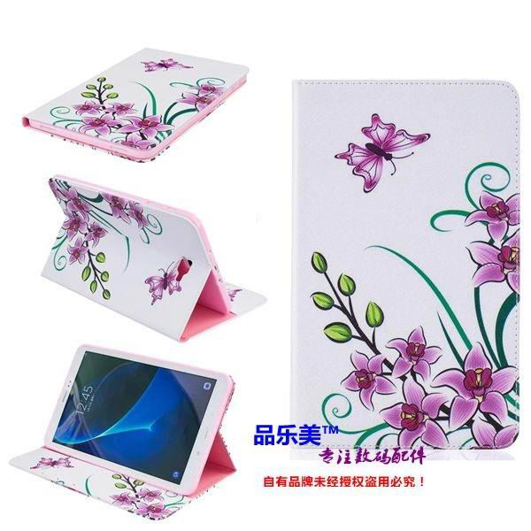 galaxy tab a 10 1 2016 case with light pattern and black and white skin with 2 stand and card holders BF---10: