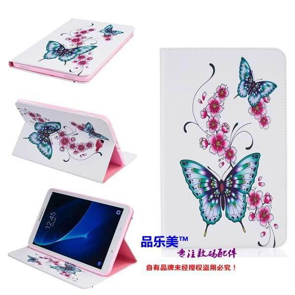 galaxy tab a 10 1 2016 case with light pattern and black and white skin with 2 stand and card holders BF---6: