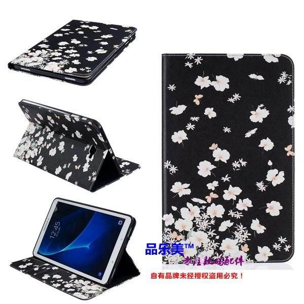 galaxy tab a 10 1 2016 case with light pattern and black and white skin with 2 stand and card holders BF---5: