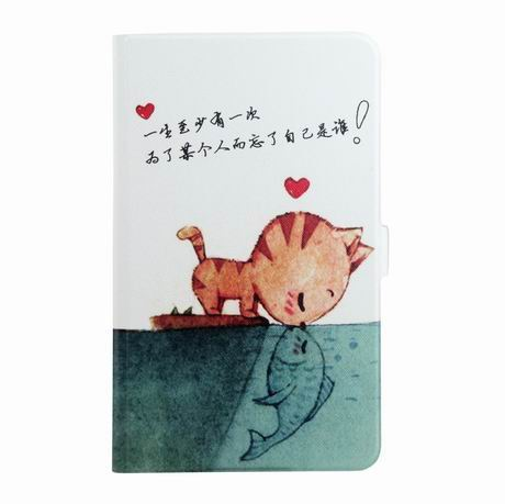 galaxy tab a 7 0 2016 case with wide different patterns 2 stand and transparent cover Cat kiss fish: