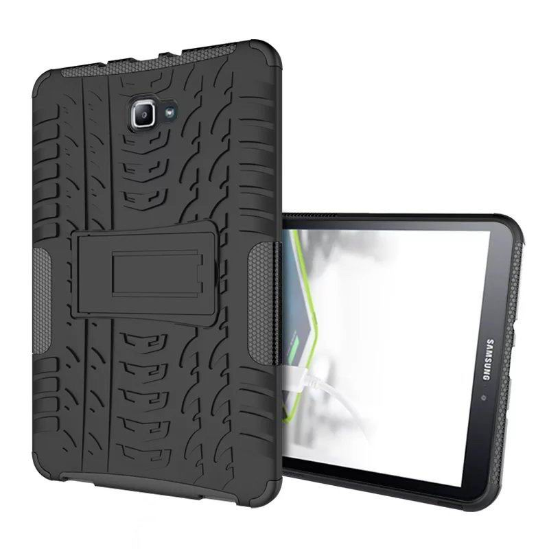 galaxy tab a 10 1 2016 protected cover with stand Black: