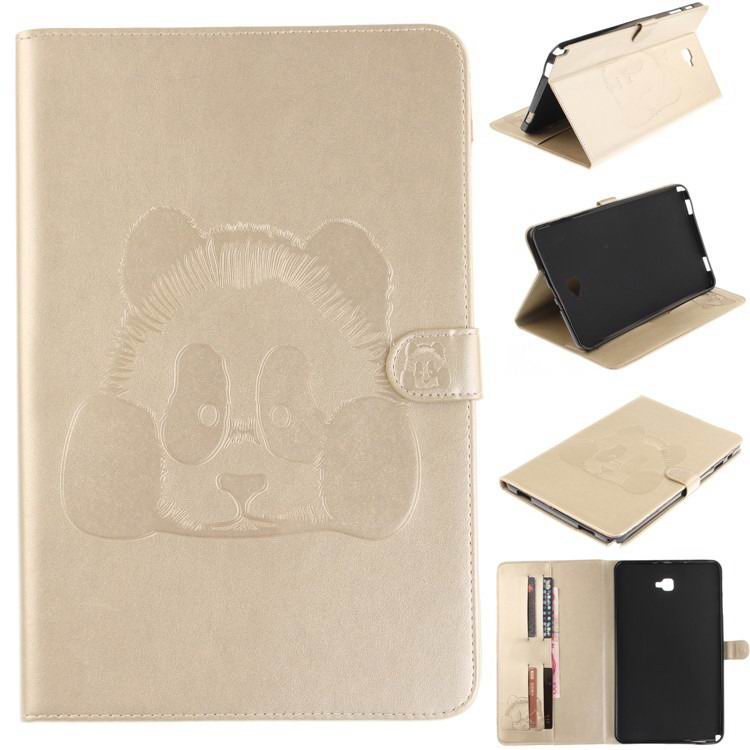 galaxy tab a 10 1 s pen 2016 stylish case with panda multicolor pattern 2 stand and card holders Golden:
