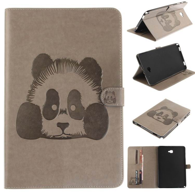 galaxy tab a 10 1 s pen 2016 stylish case with panda multicolor pattern 2 stand and card holders Gray: