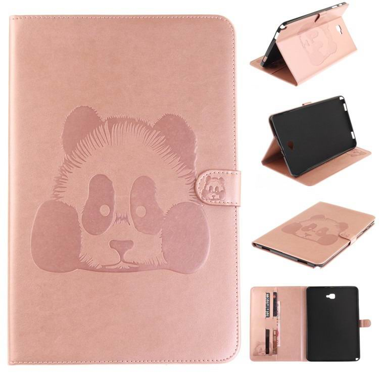 galaxy tab a 10 1 s pen 2016 stylish case with panda multicolor pattern 2 stand and card holders Pink: