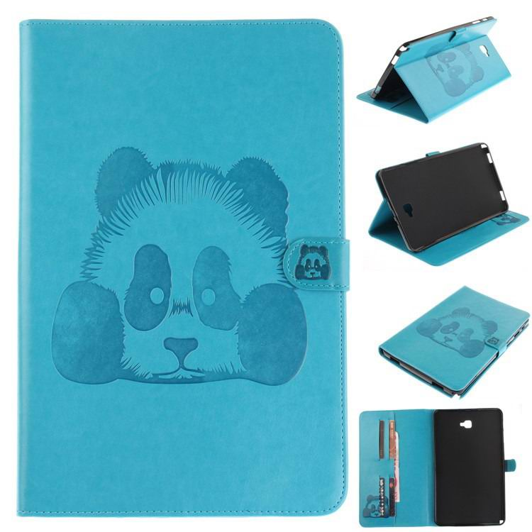 galaxy tab a 10 1 s pen 2016 stylish case with panda multicolor pattern 2 stand and card holders Blue: