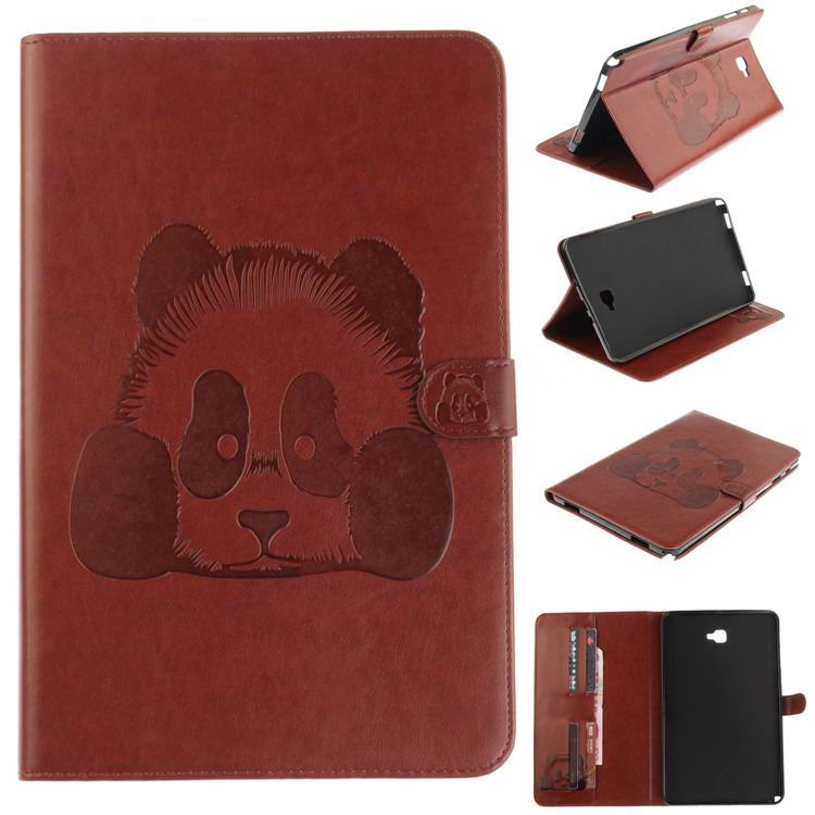 galaxy tab a 10 1 s pen 2016 stylish case with panda multicolor pattern 2 stand and card holders Brown: