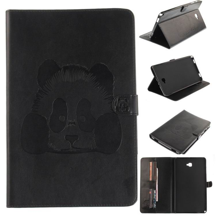 galaxy tab a 10 1 s pen 2016 stylish case with panda multicolor pattern 2 stand and card holders Black: