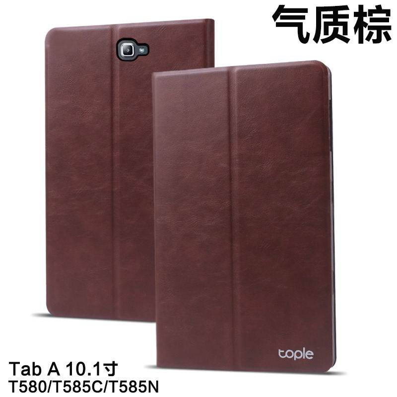 galaxy tab a 10 1 2016 tople business case with leather pattern and 2 stand Temperament brown: