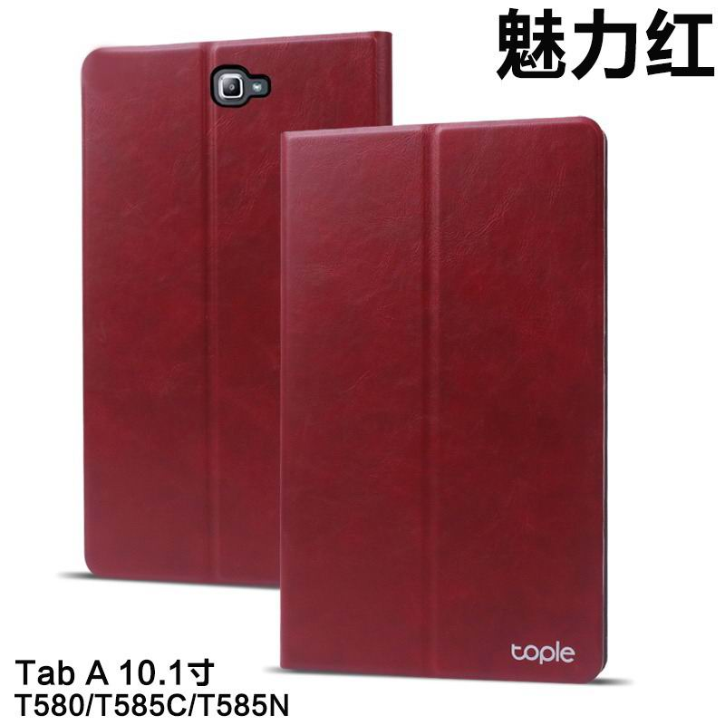 galaxy tab a 10 1 2016 tople business case with leather pattern and 2 stand Glamour red: