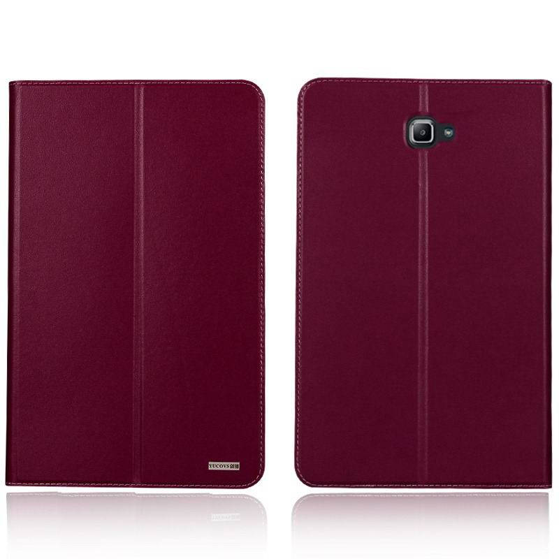 galaxy tab a 10 1 2016 yucovs business case with 2 stand card pockets and border stitching Purple: