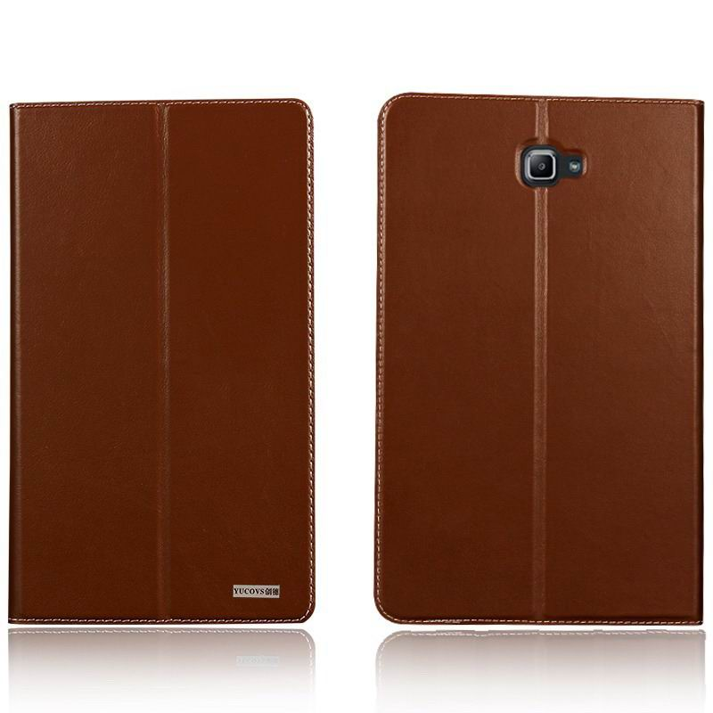 galaxy tab a 10 1 2016 yucovs business case with 2 stand card pockets and border stitching Brown: