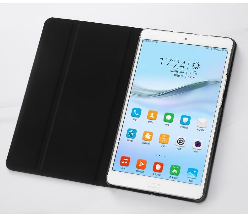 mediapad m3 black case with a picture of transparent leaves and with 2 stand
