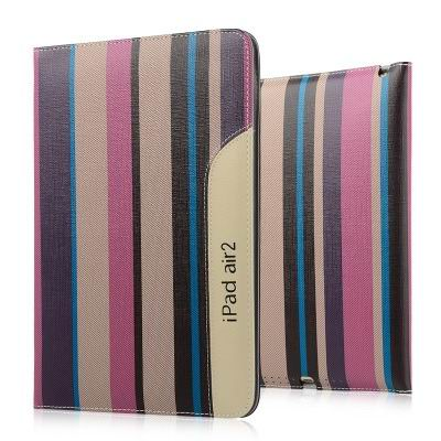 ipad air 2 business case monochromatic or striped with a handle and 2 stand purple pastel strips:
