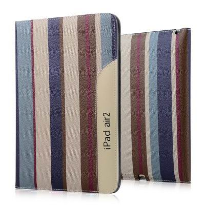 ipad air 2 business case monochromatic or striped with a handle and 2 stand blue brown color: