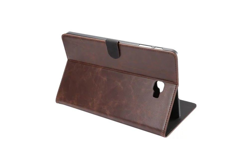galaxy tab a 10 1 2016 business case of leatherette with 2 stand plastic body and card sections Dark brown: