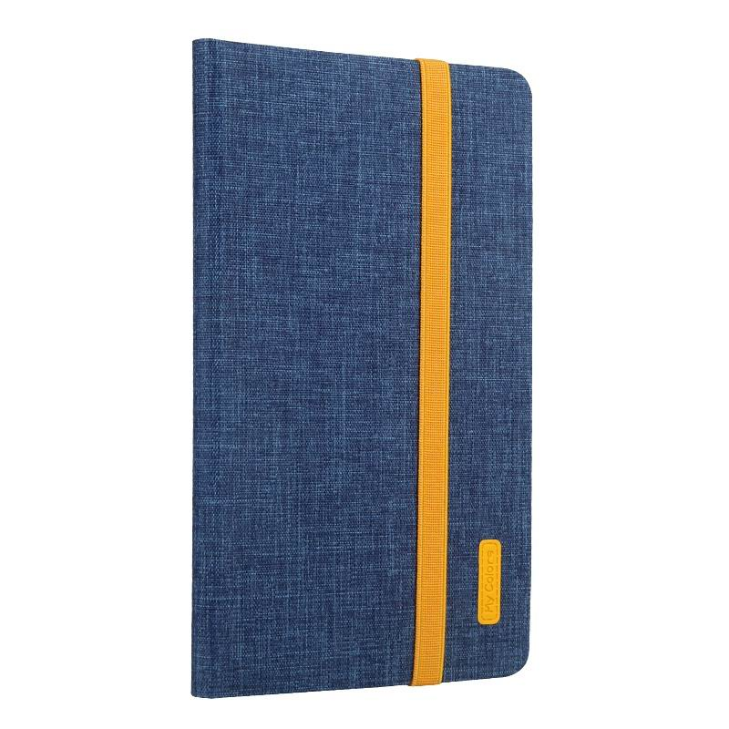 mediapad m3 business case with yellow elements silicone transparent housing and 2 stand Lake blue: