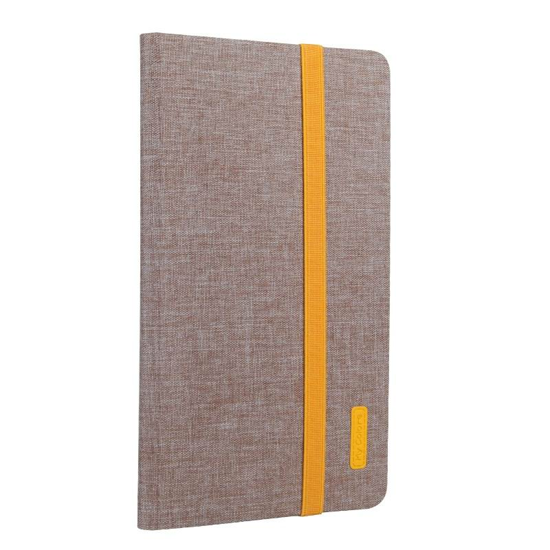 mediapad m3 business case with yellow elements silicone transparent housing and 2 stand Khaki brown: