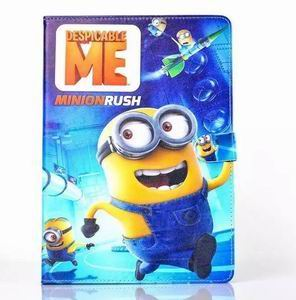 ipad air 2 cartoon case with images of minions with 2 stand and silicone blue housing inside Figure 1:
