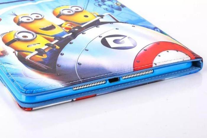 ipad air 2 cartoon case with images of minions with 2 stand and silicone blue housing inside