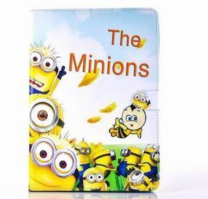ipad air 2 cartoon case with images of minions with 2 stand and silicone blue housing inside Figure 3: