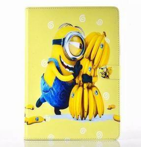 ipad air 2 cartoon case with images of minions with 2 stand and silicone blue housing inside Figure 4: