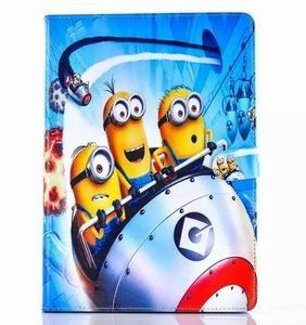 ipad air 2 cartoon case with images of minions with 2 stand and silicone blue housing inside Figure 5: