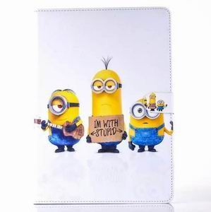 ipad air 2 cartoon case with images of minions with 2 stand and silicone blue housing inside Figure 7: