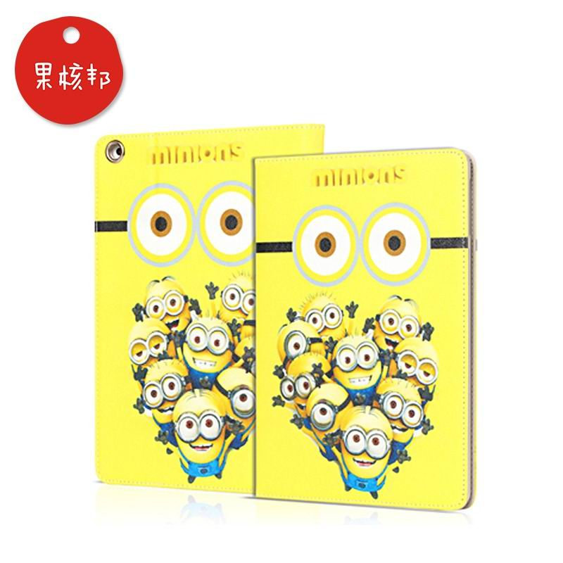 ipad mini 4 cartoon case with pictures of minions 2 stand and plastic housing a lot of minions: