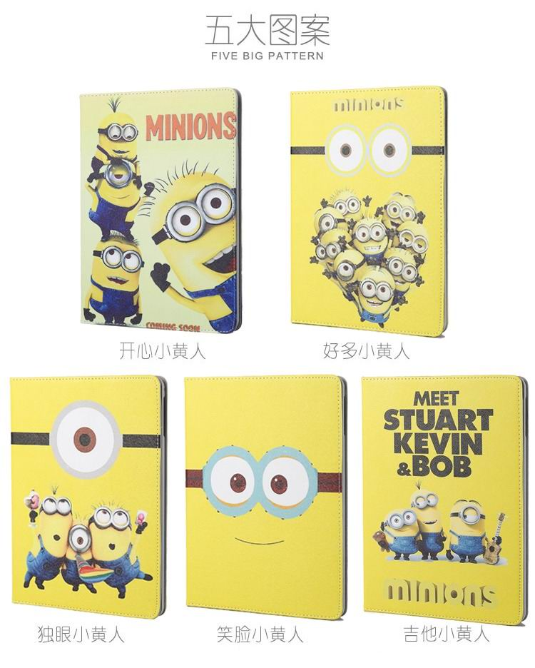 ipad mini 4 cartoon case with pictures of minions 2 stand and plastic housing