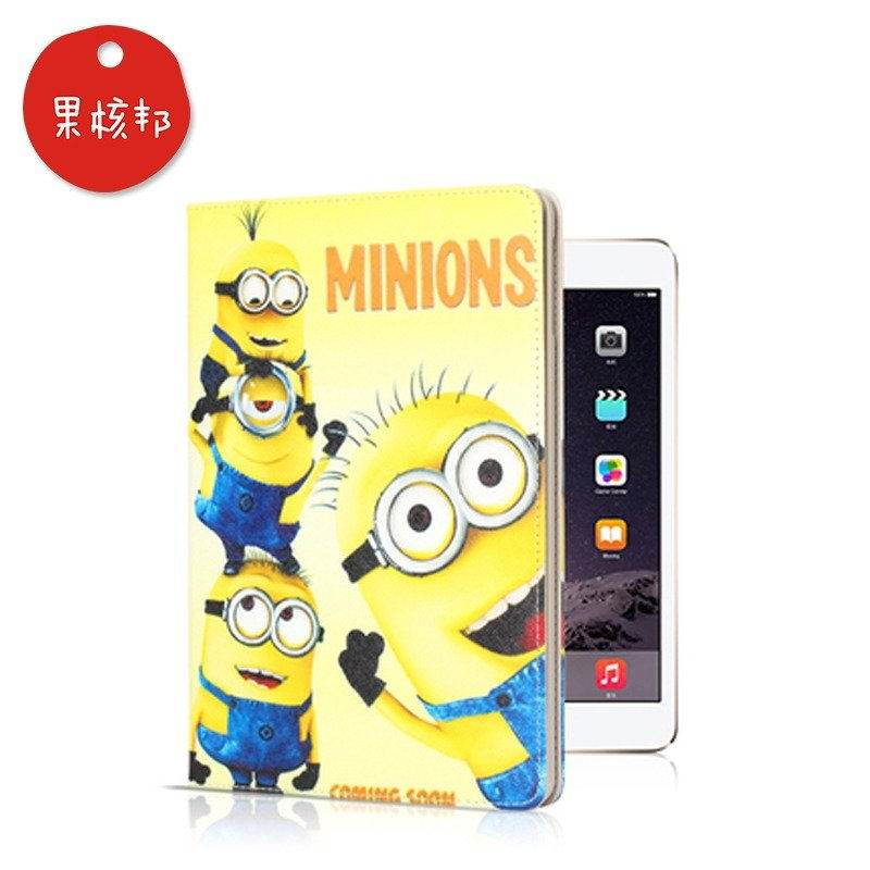 cartoon case with pictures of minions 2 stand and plastic housing 00