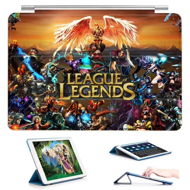 ipad air 2 case with 23 variants of different pictures of league legends and with 3 stand